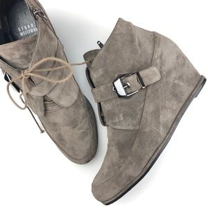 Stuart Weitzman taupe suede wedge ankle boots
